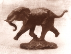 African elephant running, tin, 12 cm, 1983