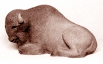Bison resting, artificial stone, 38 cm, 1972