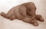 Elephant baby, artificial stone, 33 cm, 1985
